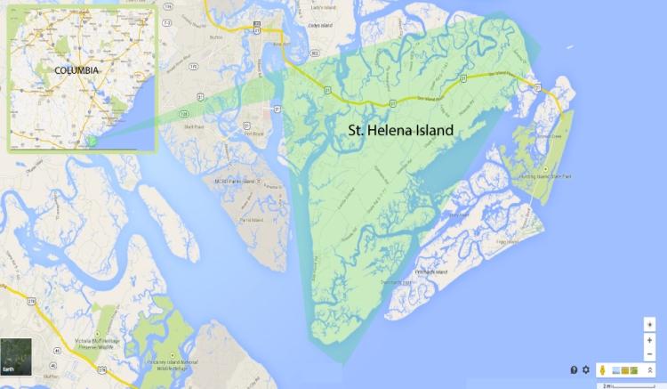 St. Helena Island Map