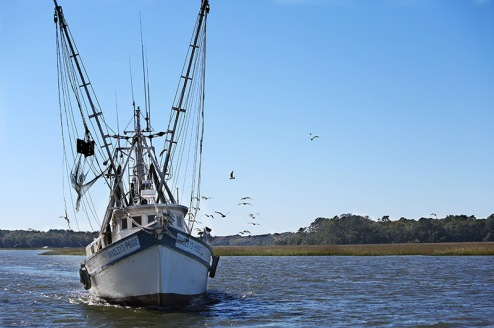 """Bradley's Pride"" ends a successful day of fishing for shrimp."