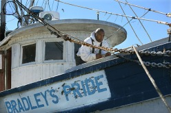 "James Bradley, Jr., carefully docks ""Bradley's Pride"" shrimp boat. His father James Bradley, Sr., recently retired as captain, but the elder Bradley is still involved in the family business that include the dock, shrimp boat, ice house and small store."