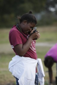 Marshview Community Organic Farm also teaches the students other trades such as photography. Janice Baker is learning that skill by taking photos of the farmland.