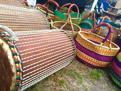 Drums and baskets were a popular find at the Heritage Days Festival.