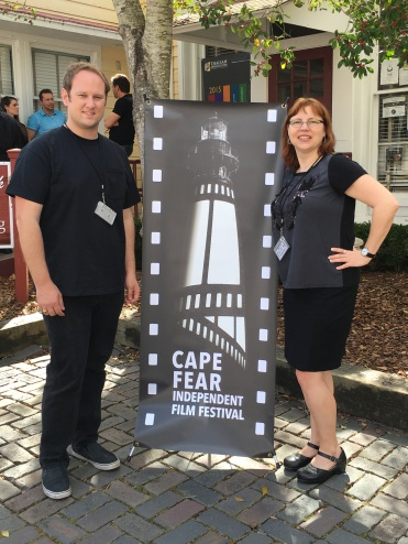 Michael Tolbert and Denise McGill take a moment to pause and snap a photo at Cape Fear Indpendent Film Festival between film screenings.