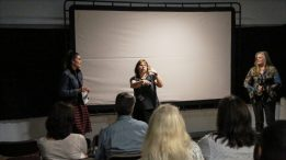 Denise McGill answers questions about the film during the Q&A session at Cape Fear Indpendent Film Festival.