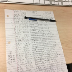 Teleshia writes down the time codes for every clip on her timeline to help her stay organized.